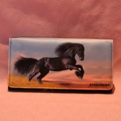 Portefeuille grand modèle cheval noir frison