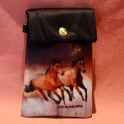 Pochette de téléphone chevaux marron au galop