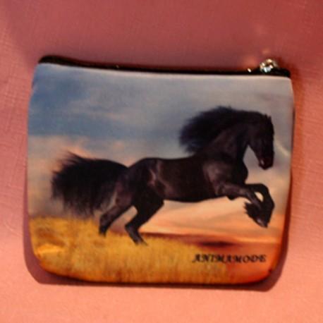 Porte monnaie plat cheval noir frison