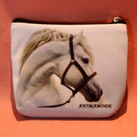 Porte monnaie plat tête cheval blanc