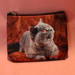 Porte monnaie plat chat chartreux