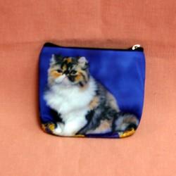 Porte monnaie plat chat persan sur fond bleu