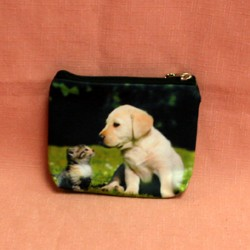 Porte monnaie plat labrador et chaton