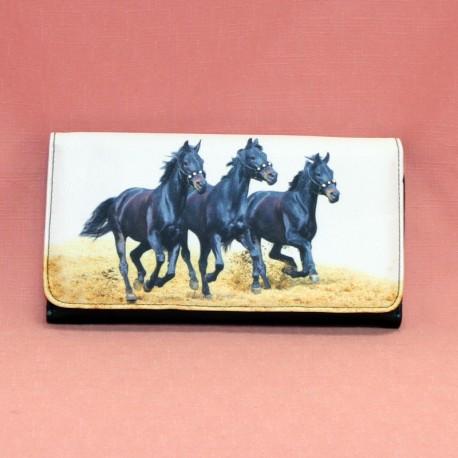 Compagnon avec motif trois chevaux noirs