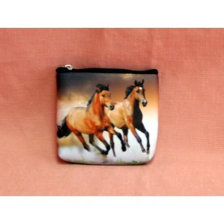 Porte monnaie plat chevaux marron