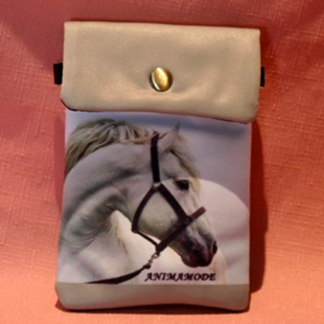 Pochette de téléphone tête de cheval blanc