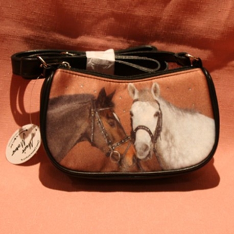 Mini sac à mains cheval marron