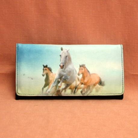 Portefeuille trois chevaux au galop