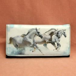 Portefeuille grand modèle trois chevaux blanc au galop