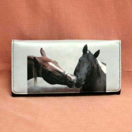 Portefeuille grand modèle deux têtes de chevaux