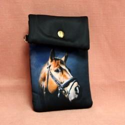 Pochette de téléphone avec tête de cheval marron