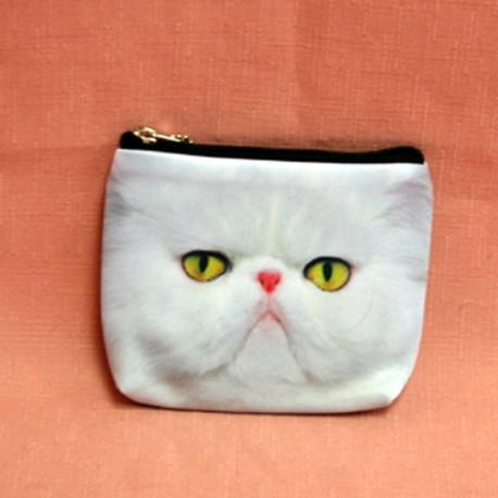 Porte monnaie chat persan blanc