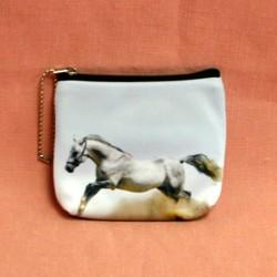 Porte monnaie plat cheval blanc au galop