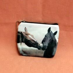 Porte monnaie plat deux têtes de chevaux